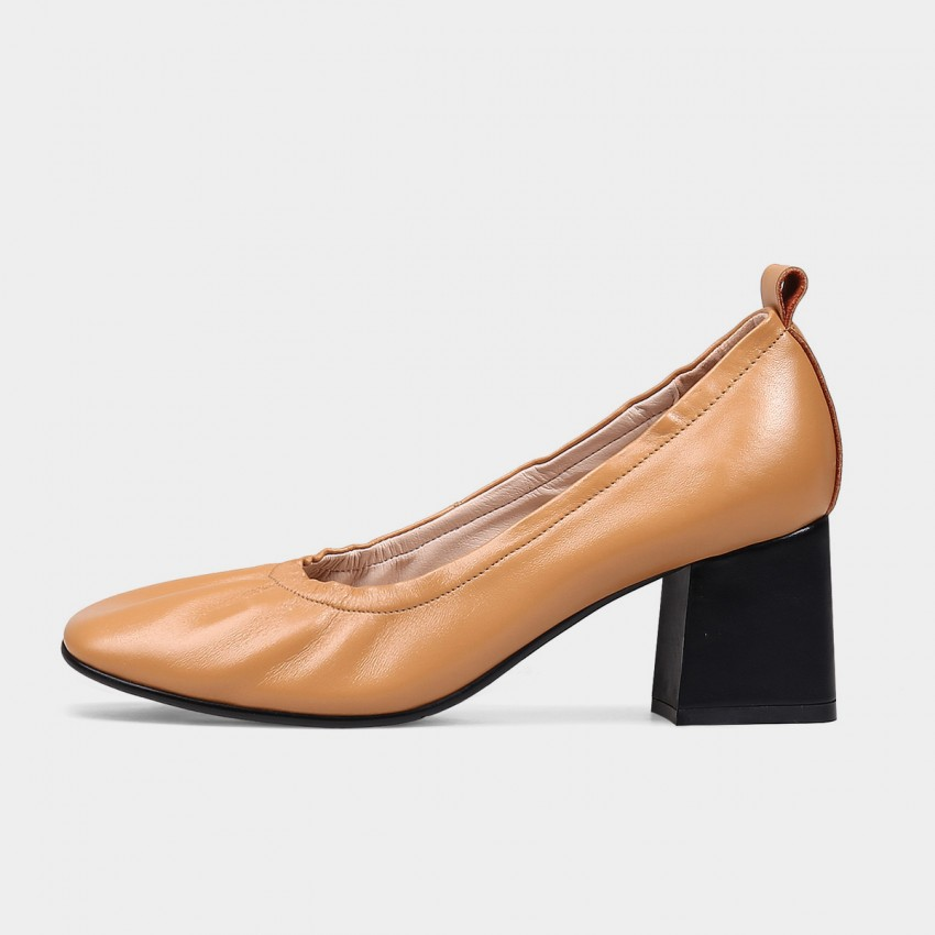 Buy Jady Rose Soft Leather Brown Pumps online, shop Jady Rose with free shipping