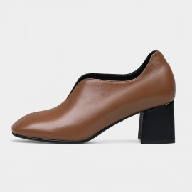 Jady Rose Chunky Heel Brown Pumps (18DR10557)