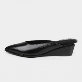 Jady Rose Faux Feather Black Slippers (18DR10558)