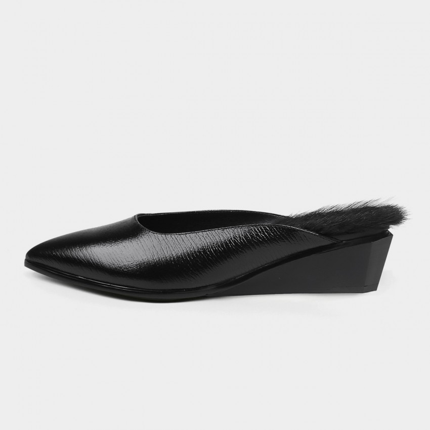 Buy Jady Rose Faux Feather Wedge Black Slippers online, shop Jady Rose with free shipping