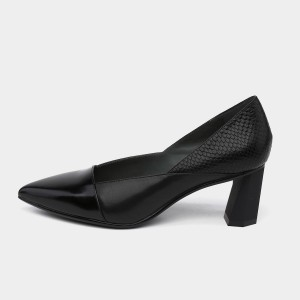 Jady Rose Stacked Heel Black Pumps (18DR10563)