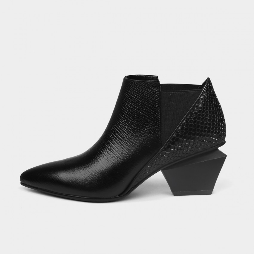 Buy Jady Rose Reptile-Print Ankle Black Boots online, shop Jady Rose with free shipping