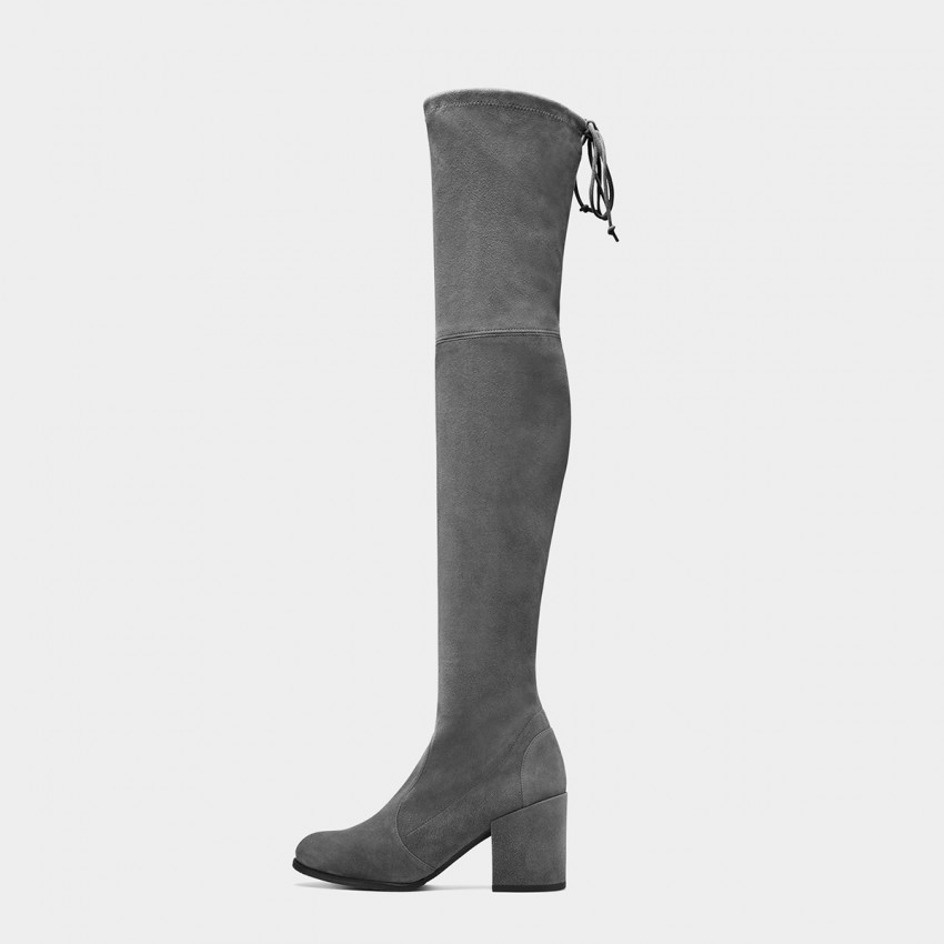 Jady Rose Elastic Long Grey Boots (17DR10306)