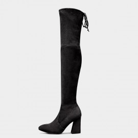 Jady Rose Elastic Long High-Heel Black Boots (17DR10309)