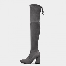 Jady Rose Elastic Long High-Heel Grey Boots (17DR10309)