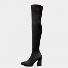 Jady Rose Elastic Over Knee High-Heel Black Boots (17DR10310)
