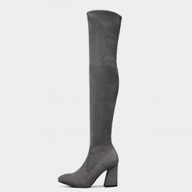 Jady Rose Elastic Over Knee High-Heel Grey Boots (17DR10310)