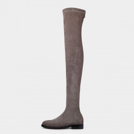 Jady Rose Over Knee Zipper Flat Coffee Boots (17DR10320)