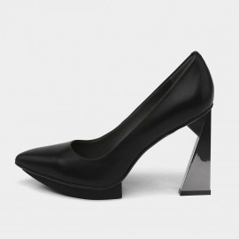 Jady Rose Pointed Toe Leather High Heel Black Pumps (18DR10569)