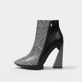 Jady Rose Geometric Heel Leather White Boots (18DR10572)