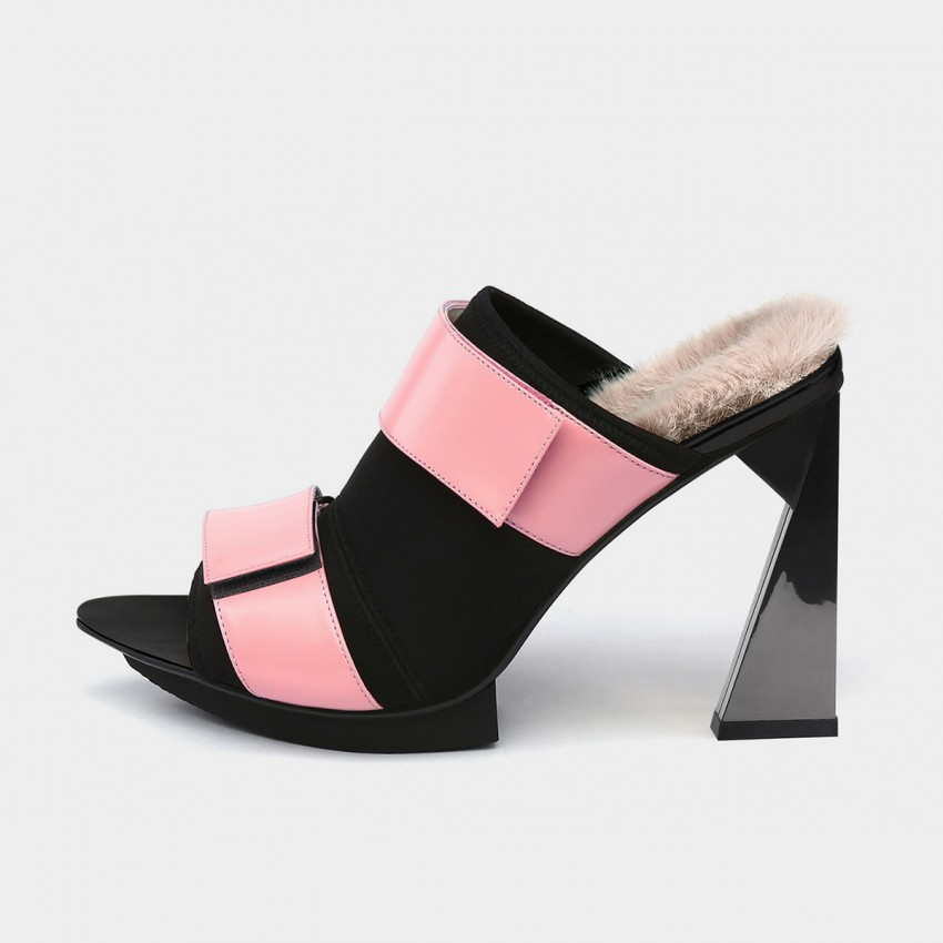 Jady Rose Pointed-Toe Velcro High-Heel Pink Sandals (18DR10578)