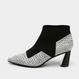 Jady Rose Mixed Texture Geometric Heel White Boots (18DR10580)