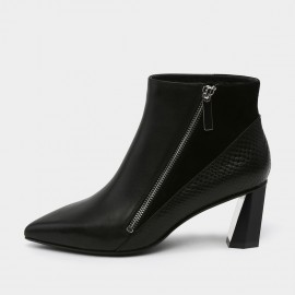 Jady Rose Pointed Toe Leather Geometric Heel Black Boots (18DR10581)