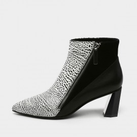 Jady Rose Pointed Toe Leather Geometric Heel White Boots (18DR10581)