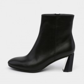 Jady Rose Ankle High Geometric Heel Leather Black Boots (18DR10583)