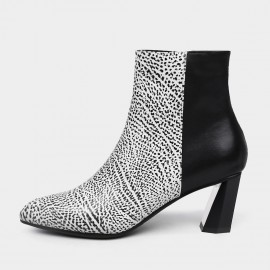 Jady Rose Ankle High Geometric Heel Leather White Boots (18DR10583)