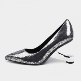 Jady Rose Pointed-Toe Faux Leather Silver Pumps (19DR10600)