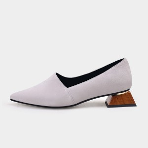 Jady Rose Pointed-Toe Faux Leather Loafer Grey Squared Heel Pumps (19DR10602)