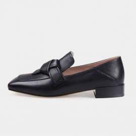 Jady Rose Squared-Toe Faux Leather Black Loafers (19DR10603)