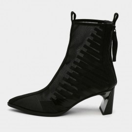 Jady Rose Pointed-Toe Black Strip-Pattern Mesh Surface Black Ankle Boots (19DR10605)