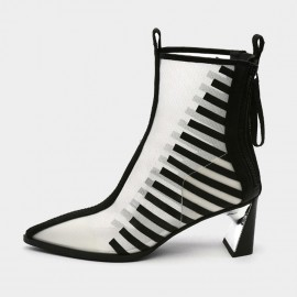 Jady Rose Pointed-Toe Black Strip-Pattern Mesh Surface White Ankle Boots (19DR10605)