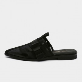 Jady Rose Pointed-Toe Sheer Mesh Zip Accent Black Slippers (19DR10606)