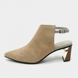 Jady Rose Pointed-Toe Faux Suede Apricot Mules (19DR10608)