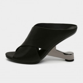 Jady Rose Open Toe Thick Strip Faux Leather Black Sandals (19DR10610)