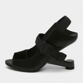 Jady Rose Open Toe Faux Leather Strip Accent Black Sandals (19DR10613)