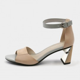 Jady Rose Open Toe Faux Suede Ankle-Strap Apricot Heels (19DR10614)