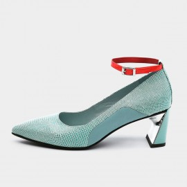 Jady Rose Pointed-Toe Faux Suede Ankle-Strap Blue Pumps (19DR10615)