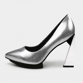 Jady Rose Pointed-Toe Faux Leather High-Polished High Heel Silver Pumps (19DR10617)