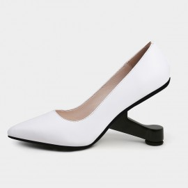 Jady Rose Pointed-Toe Faux Leather High-Polished Heels White Pumps (19DR10618)