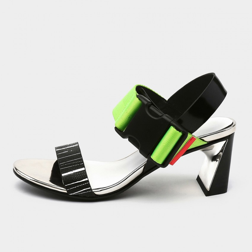 Jady Rose Open Toe Faux Suede Strip Accent Green Sandals (19DR10620)