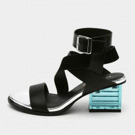 Jady Rose Open Toe Faux Suede Crisscross Strip Accent Black Sandals (19DR10621)