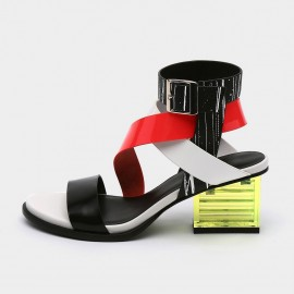 Jady Rose Open Toe Faux Suede Crisscross Strip Accent Red Sandals (19DR10621)