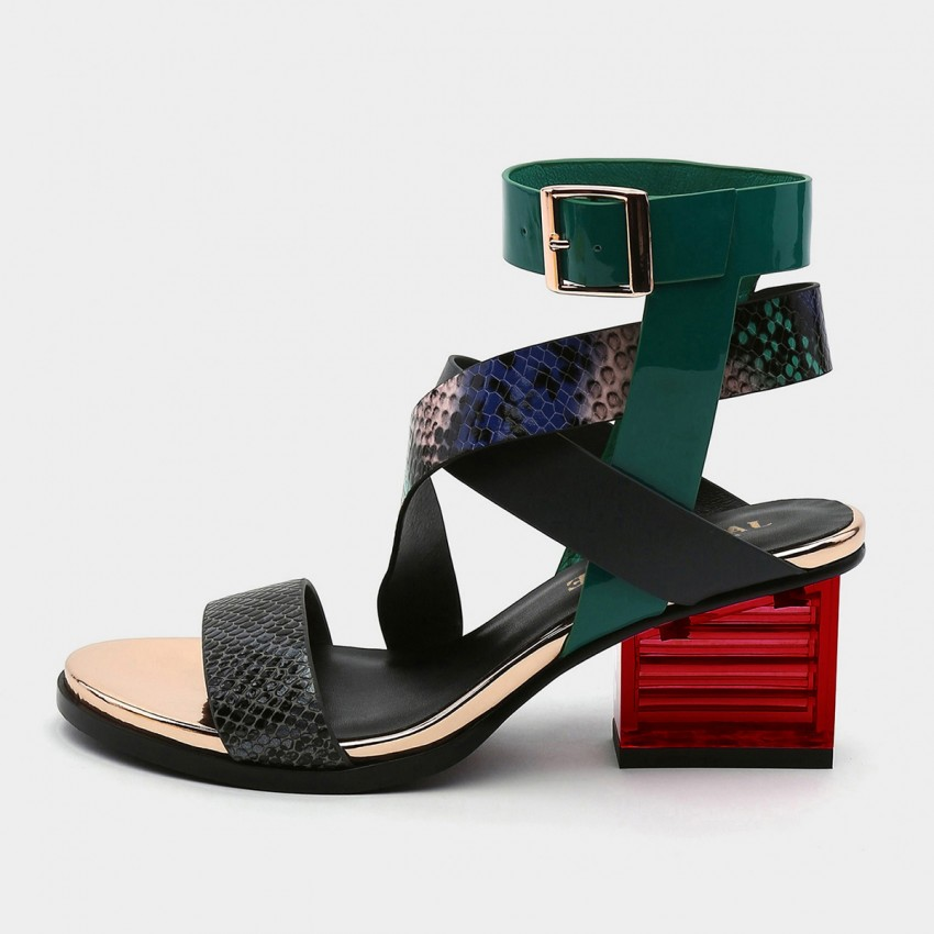 Jady Rose Open Toe Faux Snack Leather Crisscross Strip Accent Sandals (19DR10621)