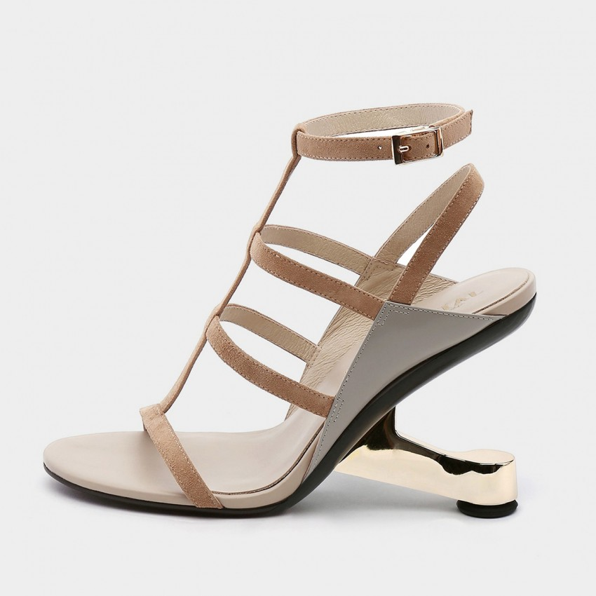 Jady Rose Open Toe Faux Leather Strip Accent Apricot Roman Sandals (19DR10622)