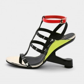Jady Rose Open Toe Faux Leather Strip Accent Yellow Roman Sandals (19DR10622)