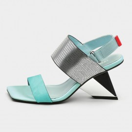 Jady Rose Squared-Toe Faux Leather Strap Blue Sandals (19DR10626)