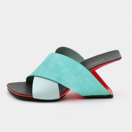 Jady Rose Squared-Toe Faux Leather Crisscross Blue Sandals (19DR10629)