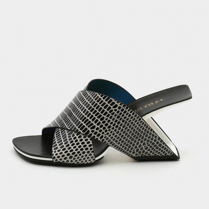 Jady Rose Squared-Toe Faux Snake Leather Crisscross Sandals (19DR10629)