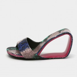 Jady Rose Multi Snake Skin Print Open Wedges (19DR10628)