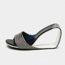 Jady Rose Textured Black & White Open Wedges (19DR10628)