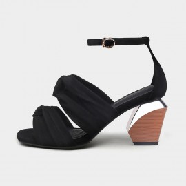 Jady Rose Bold Black Blocked Heel Sandals (19DR10631)