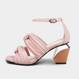 Jady Rose Baby Pink Blocked Heel Sandals (19DR10631)