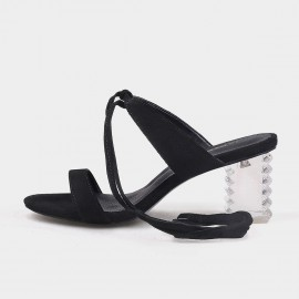 Jady Rose Edgy Black Lace Up Heeled Sandals (19DR10632)
