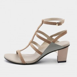 Jady Rose Strappy T-Bar Apricot Heeled Sandals (19DR10633)