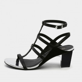 Jady Rose Classic Black Strappy T-bar Heeled Sandals (19DR10633)