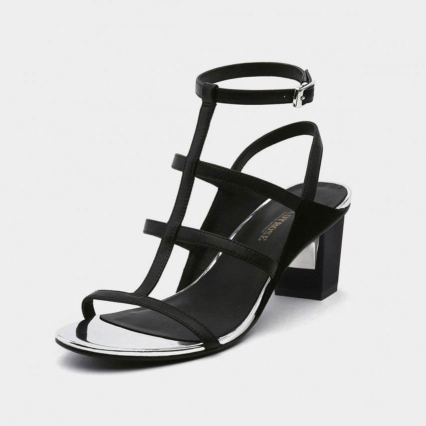 Jady Rose Classic Black Strappy T bar Heeled Sandals (19DR10633)